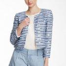 NWT $797 Alice + Olivia Blue Symson Beaded & Sequined Studded Silk Jacket  XS