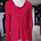 BCBG MAX AZRIA Red Drap Neck Long Sleeve Asymmetrical Hem TOP Shirt Blouse Tee S