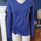 ATHLETA Blue Long Sleeve Drawstring Side Knit Top Shirt Blouse S