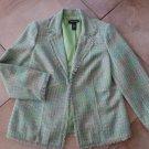 LANE BRYANT Green Tweed Fringed Trim Blazer Jacket 16