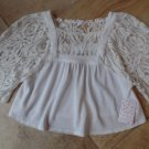 NWT FREE PEOPLE We The Free White Cropped Lace Sleeve Top Shirt Blouse XS