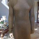 NWT MISSGUIDED Khaki Mesh Semi Sheer Sheath Dress US 6