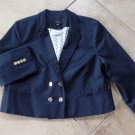 NWT ANN TAYLOR Navy Cropped Double Breast Nautical Jacket Blazer 16P
