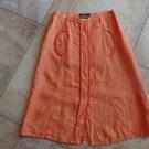 WEEKEND MAX MARA Orange 100% Linen Button Front Unlined A Line Skirt 4