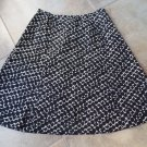TALBOTS Black And Beige Print Silk Blend A Line Skirt 16P