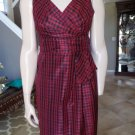 NWT TALBOTS Black/Red 100% Silk Checked Taffeta  Sheath Dress 2