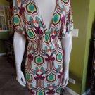 T-BAGS Los Angeles Multi Color Mod Print 100% Rayon Stretch Shift Dress M
