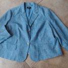 NWOT Talbots Blue Tweed Button Front Jacket Blazer 24W