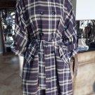 BCBG MAX AZRIA Plum Plaid Trench Slight Dolmen Sleeve Jacket M Double Breasted