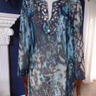 Chico's Beaded Sheer Chiffon Printed Tunic Top Blouse Shirt 1
