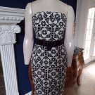 LILLY PULITZER  Black/White Floral  Strapless 100% Cotton Sheath Dress 6