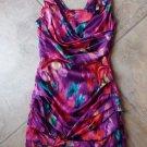NWT Express Printed Silk Blend Ruched Sleeveless Mini Sheath Dress 2