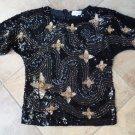 DI LOREUTO  Black/Gold Printed Beaded Short Sleeve Shirt Blouse 40 100% Silk