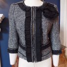 NWOT ANN TAYLOR Black/White Houndstooth 3/4 Sleeve Cropped Blazer Jacket 6