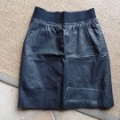 G-III Black 100% Leather Slight A Line Skirt 7/8