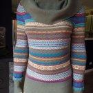 Athleta Striped Cowl Neck Wool Blend Sweater M