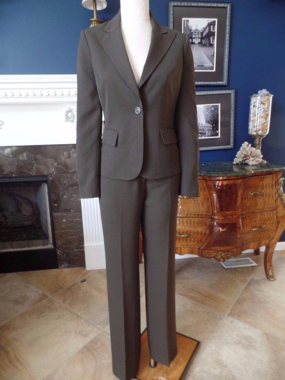 ANNE KLEIN Dark Brown Polyester  Classic Blazer & Pant Suit 2