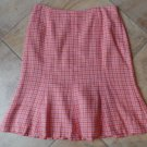 NWT Ann Taylor Printed Coral Tweed Slight A Line Skirt 12