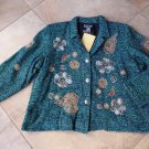 INDIGO MOON Blue/Green Embroidered Flower Detail Blazer Tweed Jacket 3X