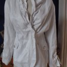 WHITE HOUSE BLACK MARKET White Ruffled Nylon Jacket Blazer M