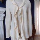 TALBOTS Cream Ruffled Open Front 100% Merino Wool Cardigan Sweater L