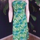 NWT Diane Von Furstenburg Leaf Print Strapless 100% Cotton Sheath  Dress 4