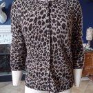 NWT APT 9 Animal Print 100% CASHMERE Long sleeve Cardigan Sweater M