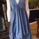 Katherine Barclay Blue  Midi Length Draped Skirt Fit & Flare Sleeveless Dress L