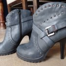 ENVY Spumoni gray studded leather ankle zip boots booties stilettos heels 10