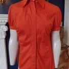 LAFAYETTE 148 Orange Cotton Blend Button Front Short Sleeve Shirt Blouse 6