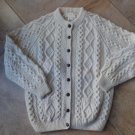 Hand knit Athena Designs Aran Fisherman Cardigan Sweater Leather Buttons XL