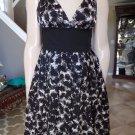 ROBERT RODRIGUEZ Black/White Printed 100% Silk Fit & flare Sheath Dress 6