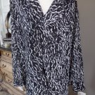 CALVIN KLEIN Animal Print 3/4 Sleeve  Top Shirt Blouse 26