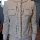 MICHAEL KORS Cotton Linen Tweed Fringed 3/4 Sleeve Snap Front Blazer Jacket 2P