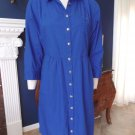 Anthropologie  ODILLE Blue 100% Cotton Button Front Shirt Dress 10