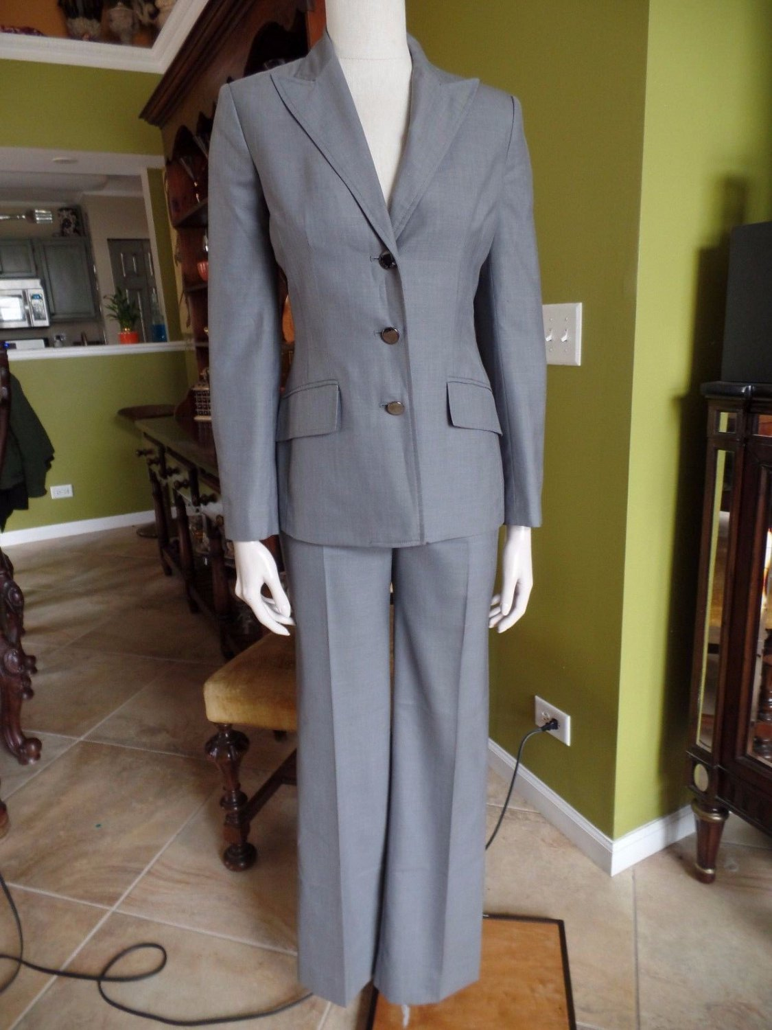 ANNE KLEIN Gray Classic Blazer And Pant Suit 2