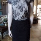 NWT TADASHI  Off Shoulder Beaded Lace Ruched  Cocktail Evening Sheath Dress 10