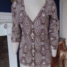 NWT TALBOTS Brown Printed 100% Cotton 3/4 Sleeve Button Front Cardigan Sweater M