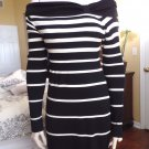 WHITE HOUSE BLACK MARKET Striped Off The Shoulder Sweater Sheath Dress S