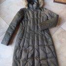 Steve Madden Olive Faux Fur Trim Removable Hood Long Length Puffer Coat Jacket S