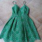 NWT Soloiste  Green Laser Cut Fit & Flare Sheath Dress S