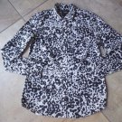 J CREW Animal Print 100% Cotton Boy Button Front Top Shirt Blouse 00