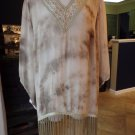 ROAMAN'S Semi Sheer Ty-dye Embroidered Fringe Tunic Top Shirt Blouse 20W