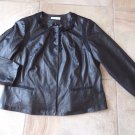 ANNE KLEIN Black Buttery Soft 100% Leather Ribbon Detail Jacket 1X