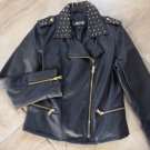 NWT LAPIS Gold Studded Black Faux Leather Moto  Jacket S