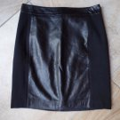 NWT $158  ANN TAYLOR LOFT 100% Leather/Ponte Black Pencil Skirt 4