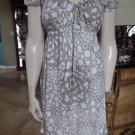 TRINA TURK Gray/White Off the Shoulder Cotton Blend Printed Star Sheath Dress 6