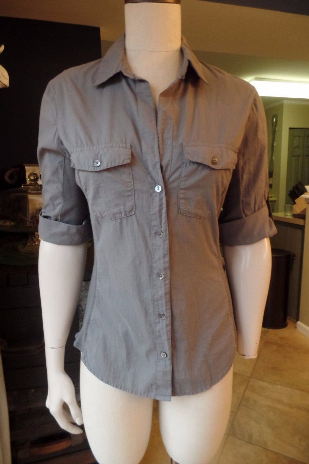 STANDARD JAMES PERSE Olive Button Front 100% Cotton Top Shirt Blouse 3