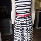 WHITE HOUSE BLACK MARKET Striped Belted Fit & Flare Sheath Dress 10