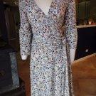 BCBG MAX AZRIA Printed 3/4 Sleeve Stretch Faux Wrap Dress M